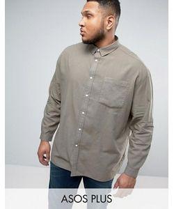 Asos | Свободная Оксфордская Рубашка Цвета Выбеленного Plus