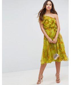 Asos | Платье Миди На Одно Плечо С Цветочным Принтом И Оборками