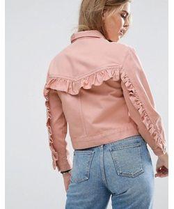 Asos | Выбеленная Розовая Джинсовая Куртка С Рюшем На Спине