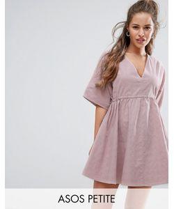 ASOS PETITE | Свободное Платье С V-Образными Вырезами И Поясом