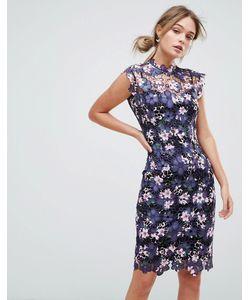 Paper Dolls | Платье Миди Из Кроше С Высоким Воротом И Цветочным Принтом Paper