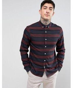 Asos | Бордовая Рубашка Классического Кроя В Полоску