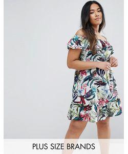 NVME | Платье С Открытыми Плечами И Оборками Plus