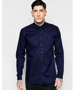 Minimum   Темно-Синяя Строгая Рубашка Узкого Кроя Из Эластичного Хлопка