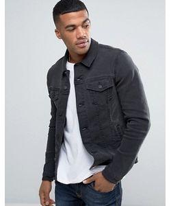 Asos   Супероблегающая Джинсовая Куртка Выбеленного Черного Цвета