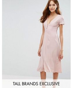 Alter Tall | Платье Миди С Короткими Рукавами И Пуговицами Спереди