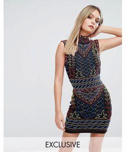 Starlet | Платье Мини С Высоким Воротом И Сплошной Декоративной Отделкой