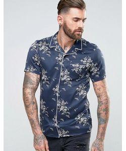 Asos | Атласная Рубашка Классического Кроя С Окантовкой И Цветочным Принтом