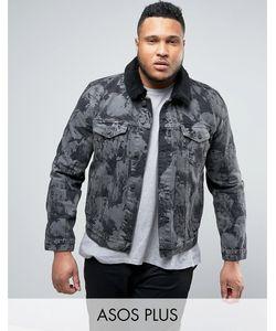 Asos | Серая Джинсовая Куртка С Выбеленным Эффектом И Воротником Из Искусственного Меха