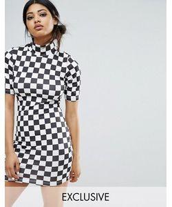 Bones | Облегающее Платье В Шахматную Клетку С Высоким Воротом
