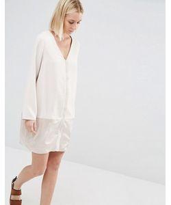 Paisie | Цельнокройное Платье С Атласной Вставкой
