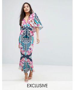 Ginger Fizz   Платье Макси С Абстрактным Цветочным Принтом И Кейпом