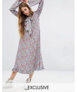 Reclaimed Vintage | Платье Макси С Принтом И Расклешенными Рукавами