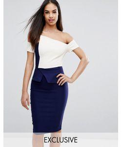 Vesper | Платье-Футляр Контрастной Расцветки Со Складками-Оригами