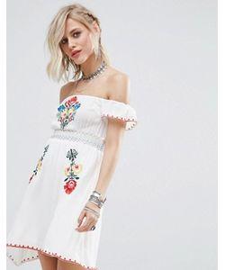 Glamorous   Платье С Открытыми Плечами И Вышивкой