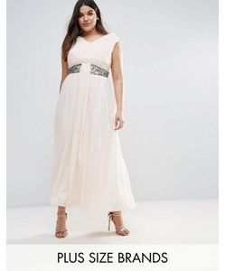 Little Mistress Plus | Drape Maxi Dress With Embellishment