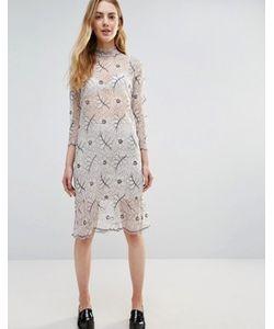 Ganni | Кружевное Полупрозрачное Платье С Длинными Рукавами California