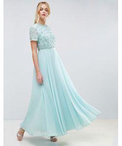 Asos | Платье Макси С Короткими Рукавами И Цветочной Отделкой