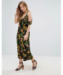 Vero Moda | Платье С Тропическим Принтом И Открытыми Плечами