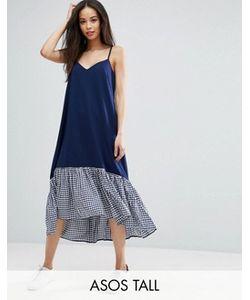 ASOS TALL | Платье Миди На Бретельках С Асимметричным Краем В Клеточку