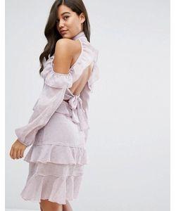 Dark Pink | Платье Миди С Рюшами И Открытой Спиной