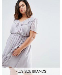 Koko | Короткое Приталенное Платье С Оборками Plus