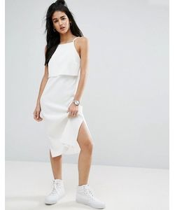Asos | Платье Миди В Рубчик С Кроп-Топом
