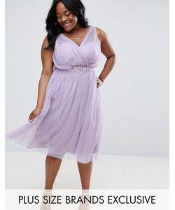Little Mistress Plus | Короткое Приталенное Платье С Юбкой Из Тюля И Цветочной Отделкой На
