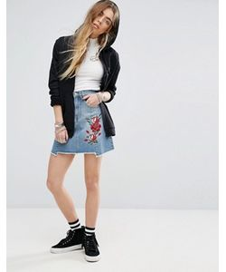 Minkpink | Beauty And The Beast Reconstructed Denim Skirt With Rose Embroidery