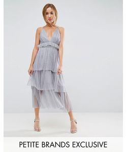 True Decadence Petite | Многослойное Платье Миди С Тонкими Бретелькам На Спине
