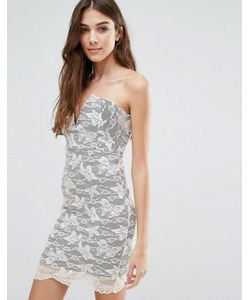 Wal G   Кружевное Платье Мини Без Бретелек