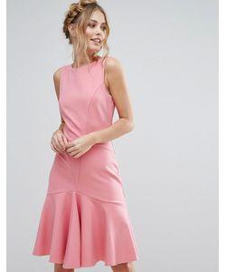 Closet London | Платье Миди С Оборкой По Подолу