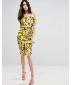 Asos | Желтое Фактурное Платье Миди С Цветочным Принтом