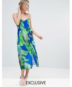 Every Cloud | Платье Миди С Разрезом До Бедра И Принтом Пальм