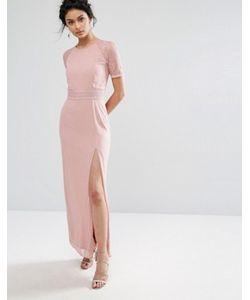 Elise Ryan | Платье Макси С Кружевной Отделкой На Рукавах И Спине
