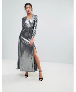 Club L | Блестящее Платье Макси С Запахом И Глубоким Вырезом