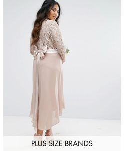 TFNC Plus | Wedding Lace Midi Dress With Bow Back