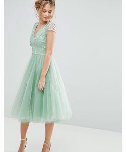 Chi Chi London | Платье Миди Из Тюля С 3d Вышивкой