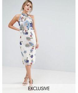 Hope and Ivy   Платье Миди С Высоким Воротом И Цветочным Принтом Hope Ivy