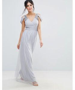 Little Mistress | Платье Макси С Открытыми Плечами И Отделкой