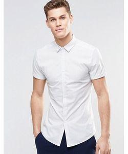 Asos | Рубашка Скинни В Тонкую Полоску С Короткими Рукавами