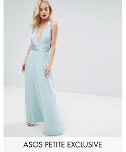 ASOS PETITE | Платье Макси С Глубоким Вырезом И Атласным Поясом