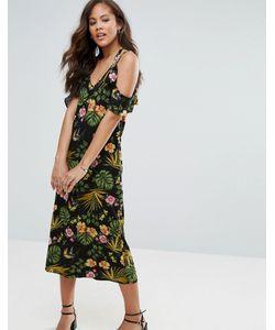 Vero Moda Tall   Платье Миди С Цветочным Принтом И Открытыми Плечами