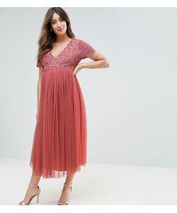 Maya Maternity | Платье Миди С Отделкой Пайетками И Юбкой Из Тюля