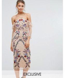 Hope and Ivy   Кружевное Платье Миди С Вышивкой И Открытыми Плечами Hope Ivy