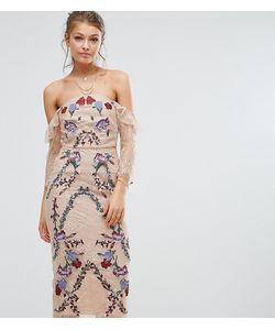 Hope and Ivy | Кружевное Платье Миди С Вышивкой И Открытыми Плечами Hope Ivy