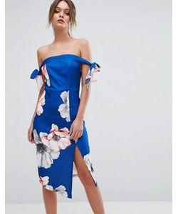 Ginger Fizz | Платье Миди С Открытыми Плечами И Цветочным Принтом