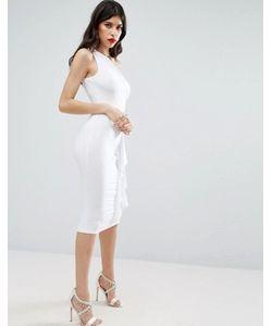 Asos | Платье Миди На Одно Плечо С Оборкой Сбоку