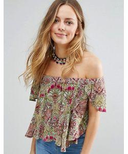 Raga | Desert Flower Printed Bardot Crop Top