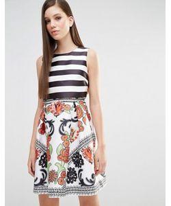 Comino Couture | Платье Для Выпускного 2 В 1 В Полоску И С Принтом